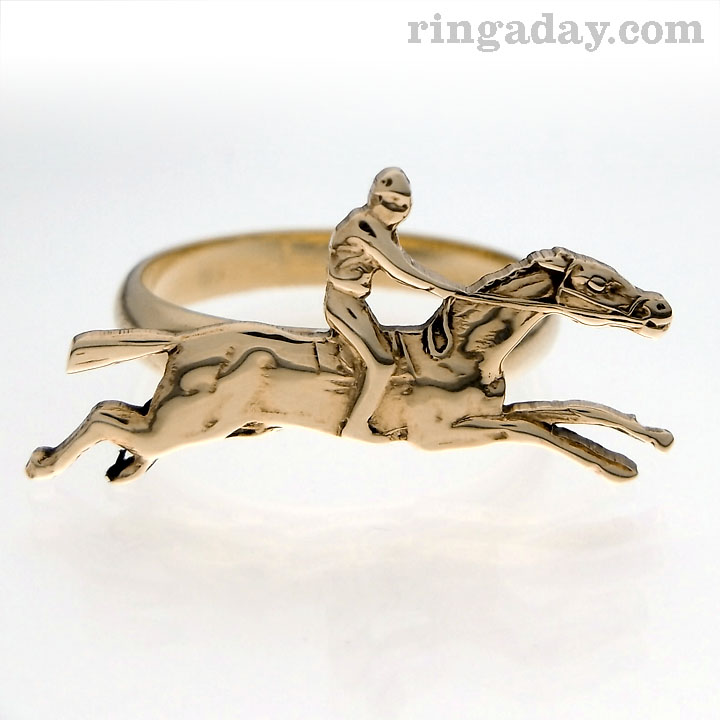 Horse and rider brass ring