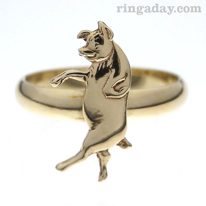 brass Wilbur pig ring