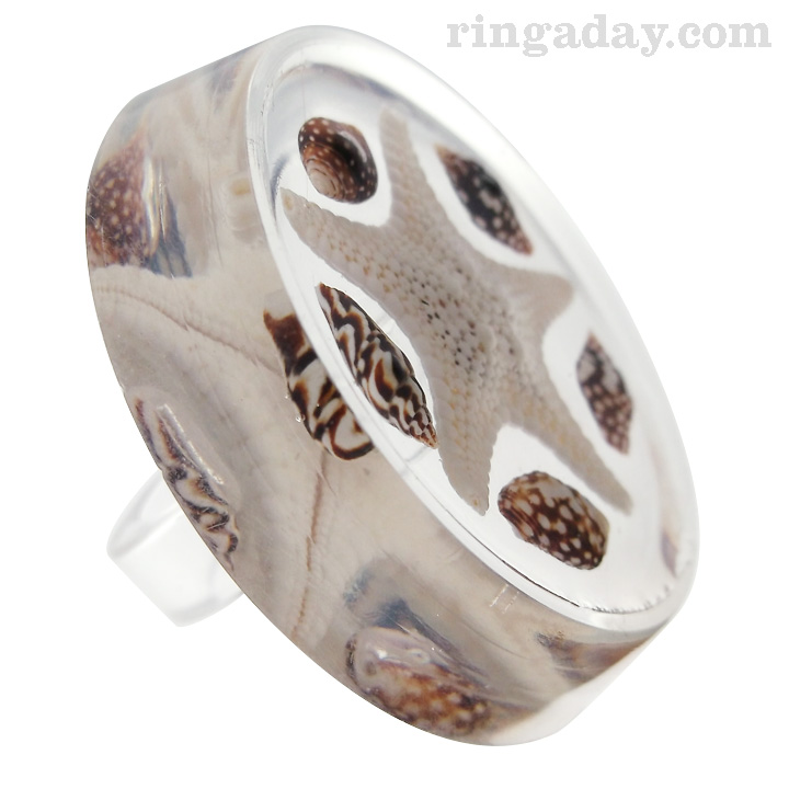 Spotted seashells and starfish resin ring